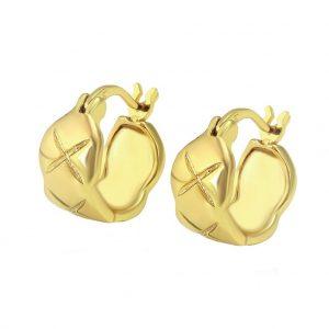 14K Gold Diamond Cut Creole Earrings