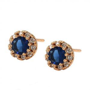 Cubic Zirconia Royal Blue Stud Earrings In Gold