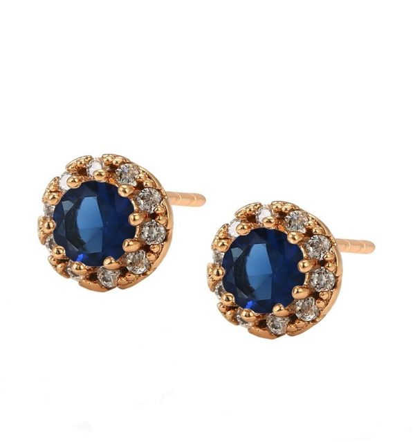 Callel Cubic Zirconia Royal Blue Stud Earrings In Gold