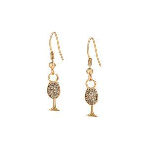 18K Gold Wine Glass Hook Drop Earrings