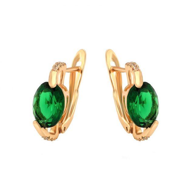 Callel 18K Gold Emerald Green Latch Back Earrings