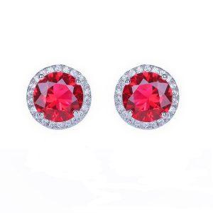 Cubic Zirconia Garnet Stud Earrings In Silver