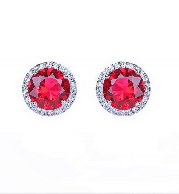 Callel Cubic Zirconia Garnet Stud Earrings In Silver