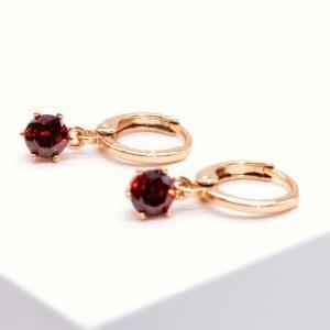 Garnet Cubic Zirconia Crystal Huggie Drop Earrings