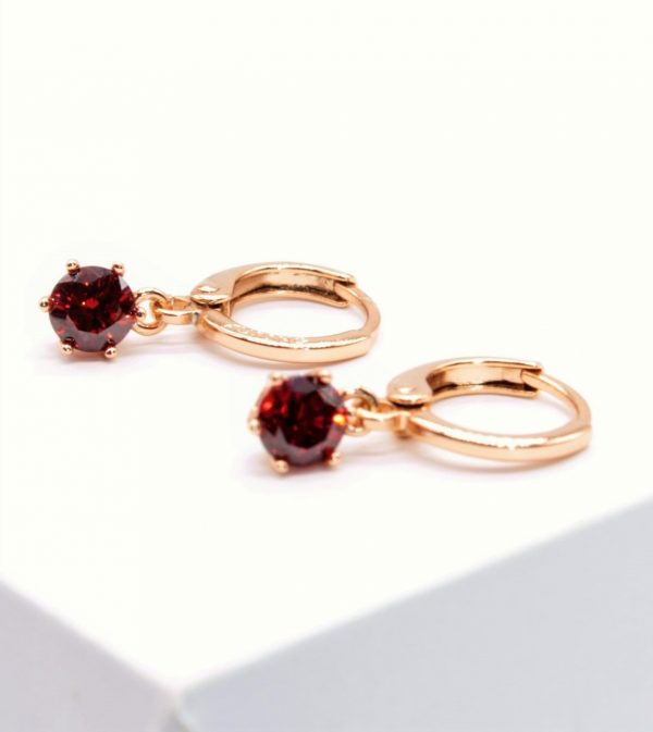Callel Garnet Cubic Zirconia Huggie Drop Earrings