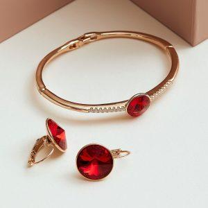 Bracelet & Earrings Embellished With Ruby Crystal From Swarovski