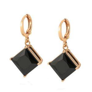 Black Stone Huggie Drop Earrings