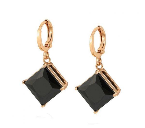 Callel Gold Black Stone Huggie Drop Earrings