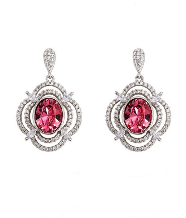Callel Long Drop Dangle Earrings Embellished With Pink Crystal From Swarovski