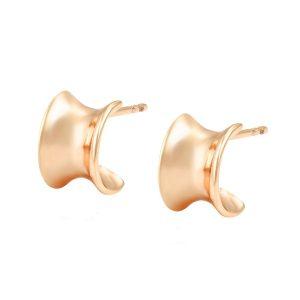 18K Gold Half Hoop Stud Earrings