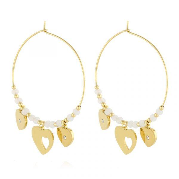 Callel Heart Pendant Hoop Earrings In Gold