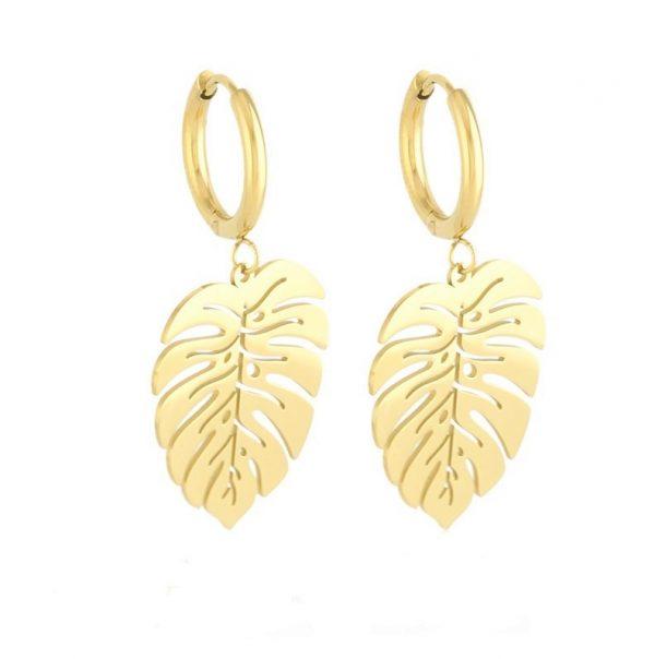 Callel Gold Leaf Hoop Earrings