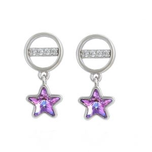 Star Drop Earrings Embellished with Lilac Crystal From Swarovski