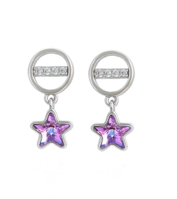 Callel Star Drop Earrings Embellished with Lilac Crystal From Swarovski
