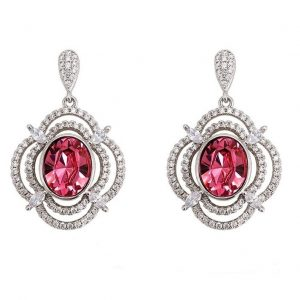 Long Drop Dangle Earrings Embellished With Pink Crystal From Swarovski