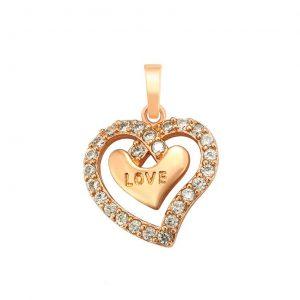 Rose Gold Love Cubic Zirconia Heart Pendant