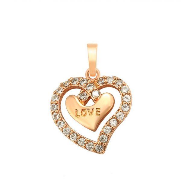 Callel Rose Gold Love Cubic Zirconia Heart Pendant
