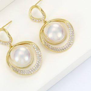 14K Gold Cubic Zirconia Pearl Drop Earrings