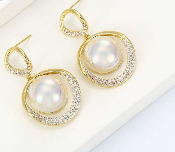 Callel Pearl Drop Earrings in Gold
