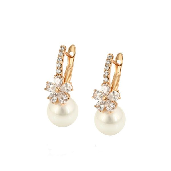 Callel Pearl Drop Earrings with Floral Cubic Zirconia Detail In Gold