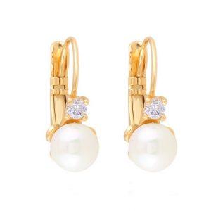 Cubic Zirconia Pearl Drop Earrings
