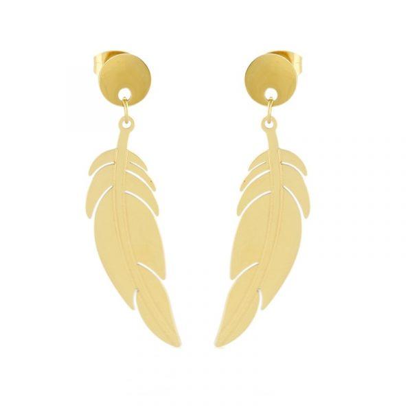 Callel Feather Drop Earrings In Gold