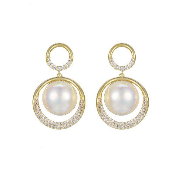 Callel 14K Gold Cubic Zirconia Pearl Drop Earrings