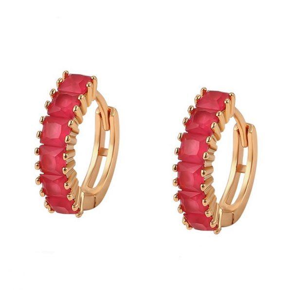 Callel 18K Gold Ruby Cubic Zirconia Hoop Earrings