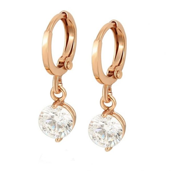 Callel Rose Gold Cubic Zirconia Drop Huggie Earrings