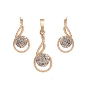 18K Gold Cubic Zirconia Teardrop Earrings And Pendant Set