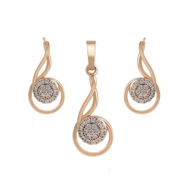 Callel Gold Cubic Zirconia Teardrop Earrings And Pendant Set