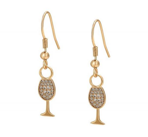 Callel Wine Glass Hook Drop Earrings