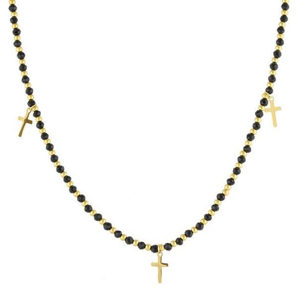 Callel Black & Gold Beaded Cross Necklace