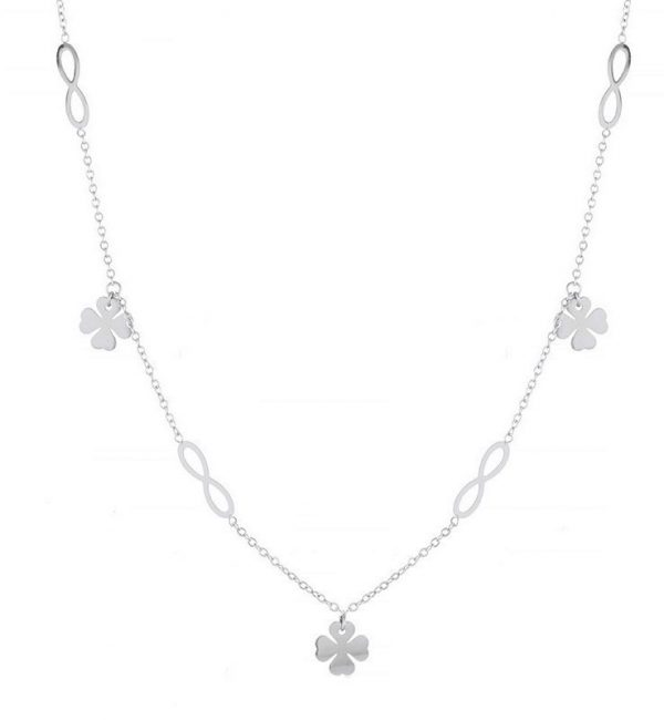 Callel Four Leaf Clover & Infinity Celebrity Necklace In Silver