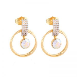 Gold Drop Earrings Embellished With AB Crystal From Swarovski