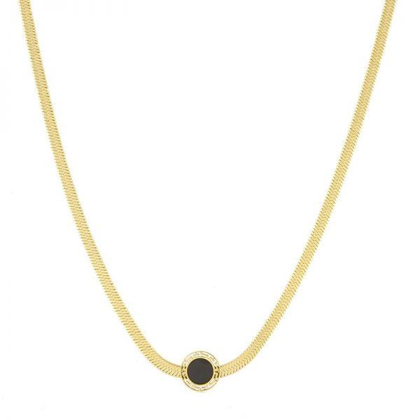 Callel Blueberry Black Enamel Celebrity Necklace