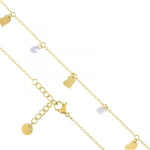 Cubic Zirconia & Heart Charm Bracelet