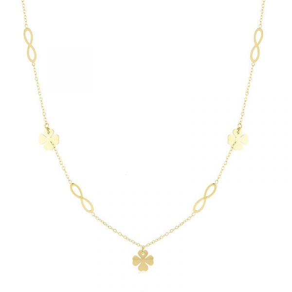 Callel Stainless Steel Infinity & Four Leaf Clover Celebrity Necklace