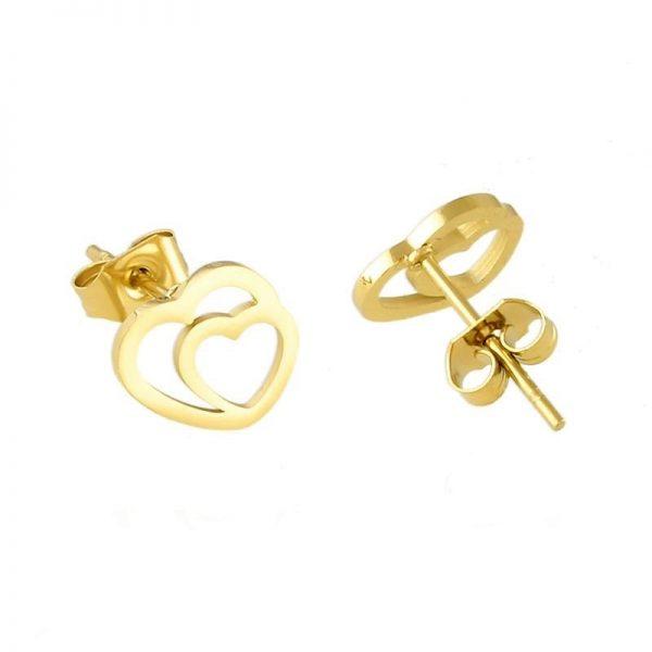 Callel Double Heart Stud Earrings
