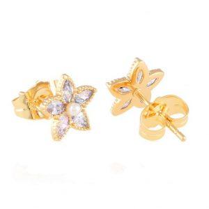 Cubic Zirconia Small Flower Stud Earrings
