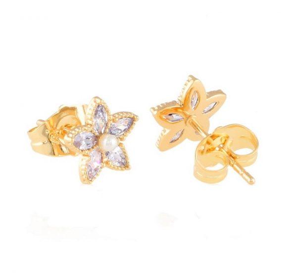 Callel Cubic Zirconia Small Flower Stud Earrings