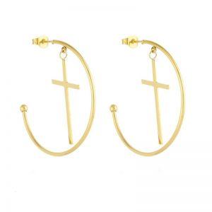 Cross Half Hoop Earrings