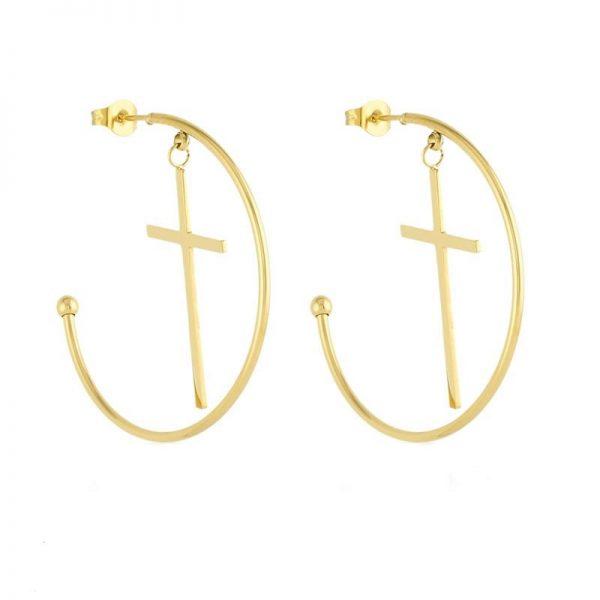 Callel Cross Half Hoop Earrings
