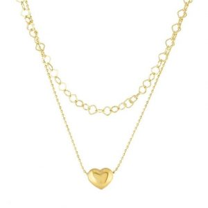 Double Layered Heart Celebrity Necklace