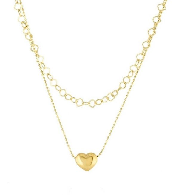 Callel Double Layered Heart Celebrity Necklace