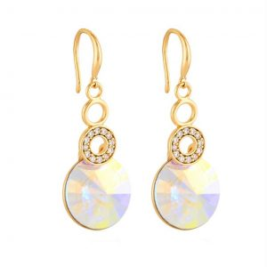 Hook Earrings Embellished With AB Crystal From Swarovski