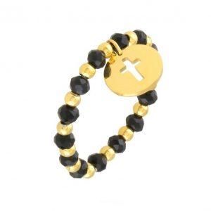 Black & Gold Beaded Cross Ring