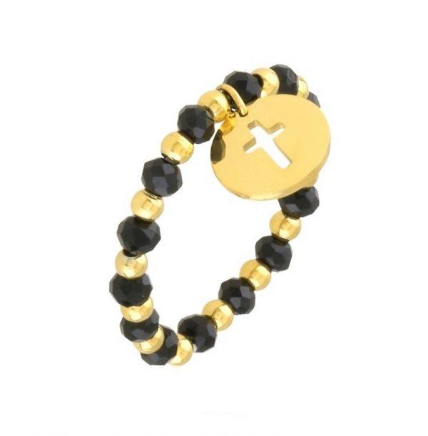 Callel Black & Gold Beaded Cross Ring