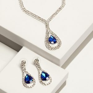 Blue Cubic Zirconia Crystal Teardrop Earrings & Necklace Costume Jewellery Set