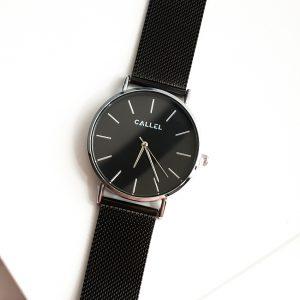 Callel Mens Black Stainless Steel Mesh Bracelet Watch